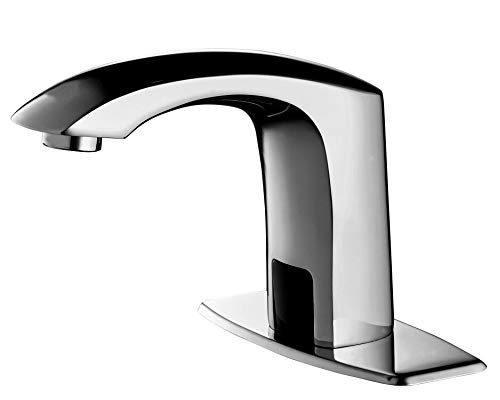 HHOOMMEE Automatic Touchless Sensor Faucet Motion Activated Bathroom Hands Free Water Tap with Deck Plate (Chrome)