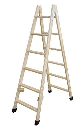 Escalera de tijera de madera con peldaño ancho de 54 mm. Fabricada en pino marítimo sin barnizar. (6 peldaños)