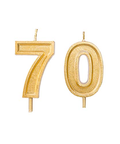 2.76 inch Gold 70th Birthday Candles,Number 70 Cake Topper for Birthday Decorations
