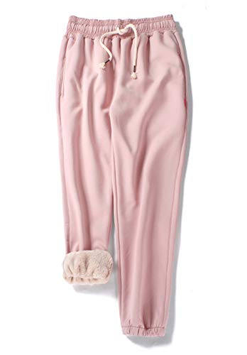 Gihuo Women's Winter Fleece Pants Sherpa Lined Sweatpants Active Running Jogger Pants (Pink, Medium)