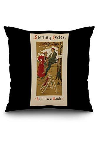 hgfyef Sterling Cycles Poster Vintage USA c. 95 federe Decorative, Federa per Cuscino in Lino Morbido, Decorazione per la casa, 18'x18