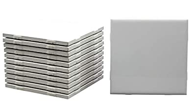 12 Pack of Glossy White Glazed Ceramic Tiles for Alcohol Ink Painting, Decorating, Arts & Crafts, 4.25 x 4.25 Inch Square, Ready-to-Paint Ceramics