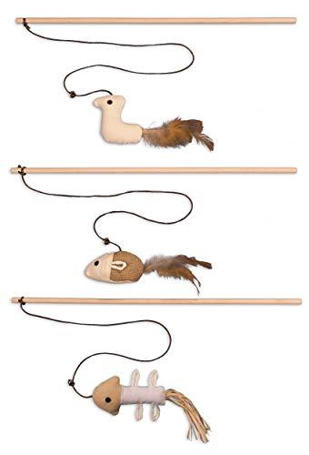 ecoworks Premium Katzenspielzeug |natürliche robuste Spielangel mit Maus | Stofftier 3er Set zur Katzenbeschäftigung | Kratzspielzeug | Geschenkbox | interaktives Zubehör | natürlichen Fasern & Federn