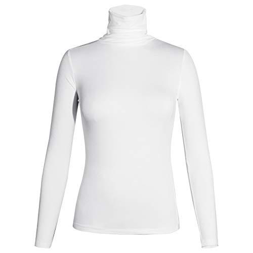 STARBILD Damen Rollkragenpullover Langarm mit Rollkragen Langarmshirt Bluse Casual Oberteile Stretch Shirt Slim Fit Herbst Winter,Weiß XL