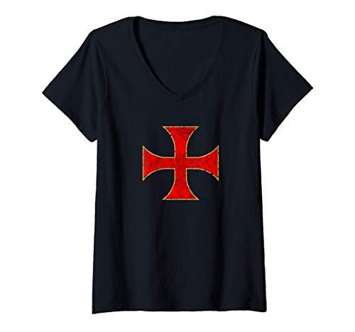 Mujer Cruz Caballeros Templarios Regalo Cristiano Hombre Mujer Camiseta Cuello V