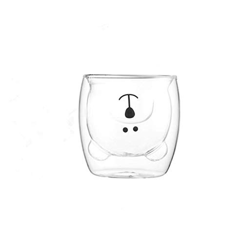 AKAMAS Tasse à lait en verre style ours pour la maison avec petit panda résistant à la chaleur (1 pièce, 250 ml, transparente).