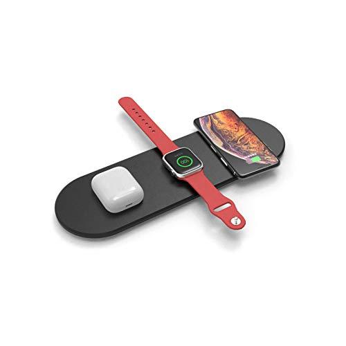 QXIAO Cargador Inalámbrico Qi,Almohadilla de Carga 3 en 1,Muelle de Cargador Inalámbrico de Múltiples Dispositivos para Air Pods,Apple Watch Series 4/3/2/1 y iPhone 11/11 Pro / 11 Pro MAX/XR/X / 8,A