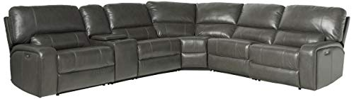 ACME Saul Sectional Sofa (Power Motion/USB Dock) - - Gray Leather-Aire