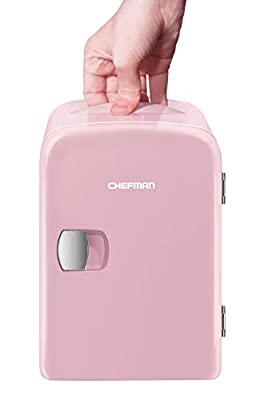 Chefman Mini Portable Pink Personal Fridge Cools Or Heats & Provides Compact Storage For Skincare, Snacks, Or 6 12oz Cans W/ A Lightweight 4-liter Capacity To Take On The Go