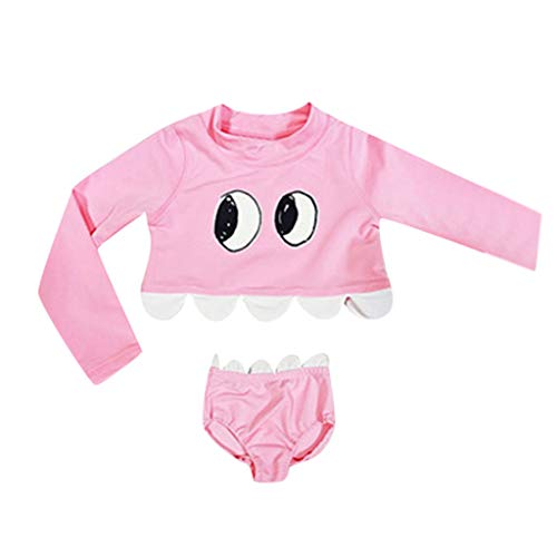 Giulot Baby/Toddler Girl Swimwear Two Piece Bikini Swimsuit Set Long Sleeve Top+Bottom Bathing Suit Summer Sport Beachwear Pink