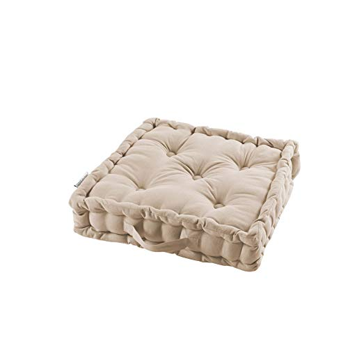 Cojín de Suelo, 45 x 45 x 10 cm, algodón Liso Panama Natur