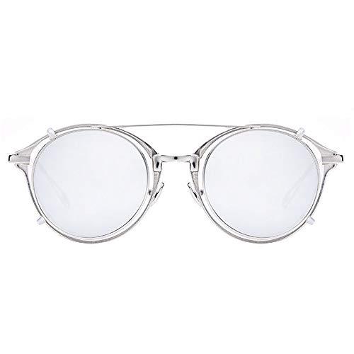 DKee Gafas de Sol Europa Y Los Estados Unidos Redondas Gafas Retro Steampunk Gafas De Sol Hombres UV400 Protección (Color : Silver)