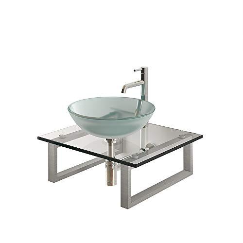 Alpenberger Moderne wastafel Ø 42 cm inclusief roestvrij stalen console en glasplaat van gehard veiligheidsglas ESG | klasse wastafelblad perfect voor je gastentoilet