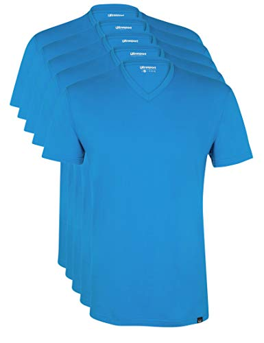 Ultrasport Herren Sport Freizeit T-Shirt mit V-Ausschnitt 5er Set, Blau, L