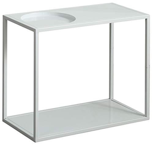 Mesa auxiliar simple de hierro forjado, proceso de pintura de alta temperatura, escritorio de doble almacenamiento, para guardar libros, flores, teléfonos móviles, color blanco