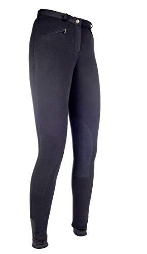HKM 9064 - Pantaloni da Equitazione Penny Easy, da Ragazza, con Inserti al Ginocchio, Taglia 46, Colore: Nero