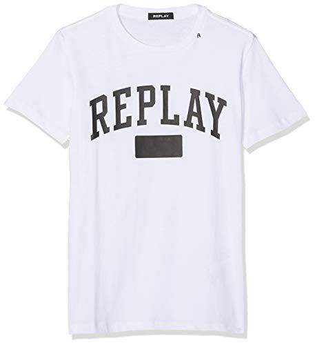 REPLAY M3874 .000.22662 Camiseta, Blanco (White 1), X-Large para Hombre