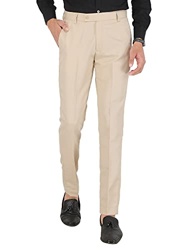 GHABA CREATION Men's Regular Fit Trouser (Beige)