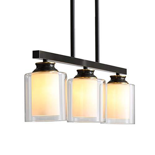 Lámpara simple moderna para comedor, dormitorio, salón, 3 cabezales de cobre, creativa, cristal, bar, cafetería, restaurante, colgante de luz