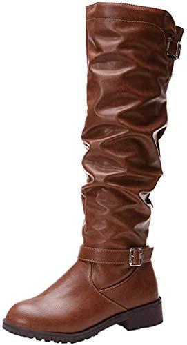 Kriosey Damen Langschaft Stiefel Leder Bikerstiefel Flache Stiefel rutschfeste Herbst Winterstiefel Stiefeletten Reißverschluss Schwarz, Braun, Khaki