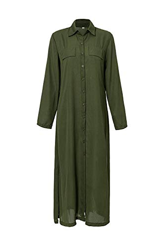 Mujer Vestidos Largos Casual Camiseros Manga Larga Botón Lateral De Hendidura Vestido De Fiesta Verde S