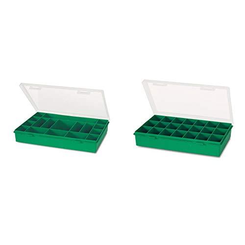 Tayg Estuche con compartimentos fijos n. 13-17, 330 x 247 x 54 mm. + 060106 Estuche con separador fijo n. 12-21, Verde, Transparente, 290 x 195 x 54 mm.