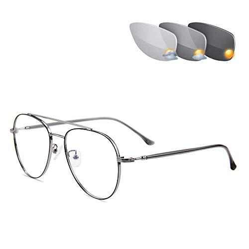CAOXN Gafas De Lectura De Enfoque Múltiple Progresivas Fotocromáticas Inteligentes, Gafas De Sol De Transición De Aviador para Hombres, Gafas De Lectura, Lupa,Gris,+2.50