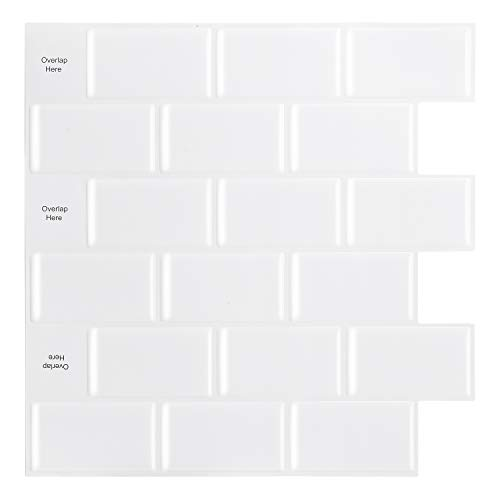 HomeyMosaic Peel and Stick Backsplash Tile for Kitchen,12'x12' 3D Wall Vinyl Stickers Subway Panel with White Grout(10 Sheets,White)