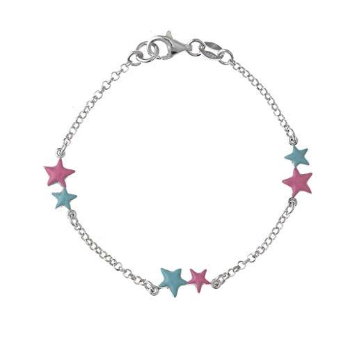 Pulsera Plata Estrellas Azul y Rosa