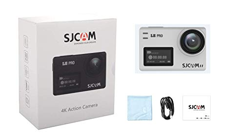 SJCAM SJ8 Pro 4k Action Camera 60fps Water Resistant,OLED Large Ultra Full HD Touchscreen,EIS Stabilized,Dual Screen,Raw Image,1200mAh High Capacity Battery 5G WiFi (White-Small Package)