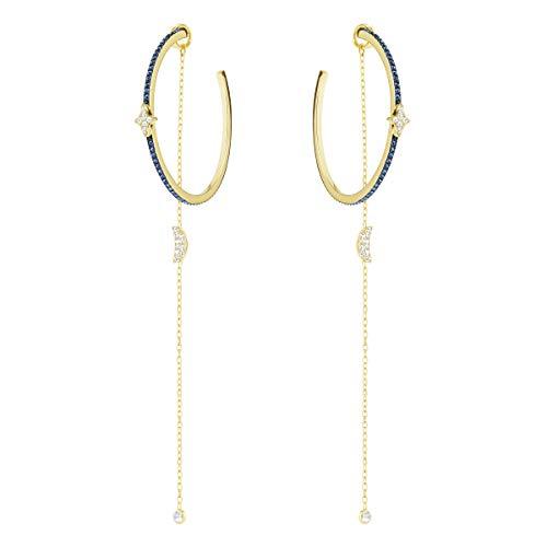Swarovski Boucles d'oreilles Duo Moon, bleu canard, combinaison de métaux plaqués