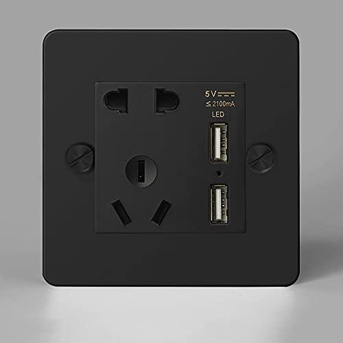 Brass 86 Tipo Twgle Switch Black Steel de Acero Inoxidable Pared UE Enchufe USB Interruptor de luz de Pared Retro de Salida 1-4 interruptores de Palanca de pandilla de 2 vías