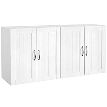 Yaheetech Wall Mount Cabinet Home Kitchen/Bathroom/Laundry 2 Door Wall Storage Cabinet with Adjustable Shelf White Set of 2