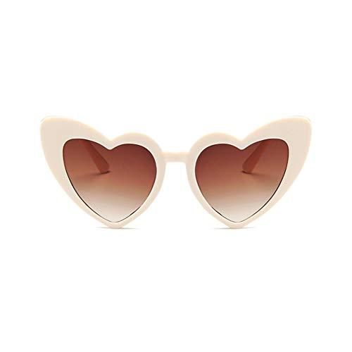 CandyTT Gafas de Sol de Moda en Forma de corazón para Mujer, Gafas de Sol de Ojo de Gato de Lujo para Mujer, Gafas Vintage para Mujer y Hombre (arroz Blanco y leonado)