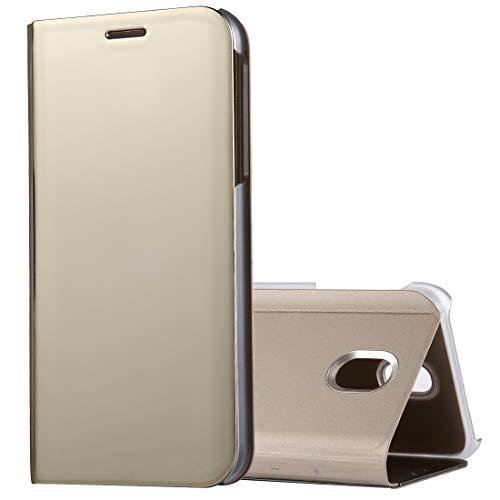 ZAORUN Cubiertas Protectoras de Cellphone Compatible for Samsung Galaxy J5 (2017) (Versión de la UE) Estuche de Cuero con Tapa giratoria de electrochapado con Soporte (Color : Gold)