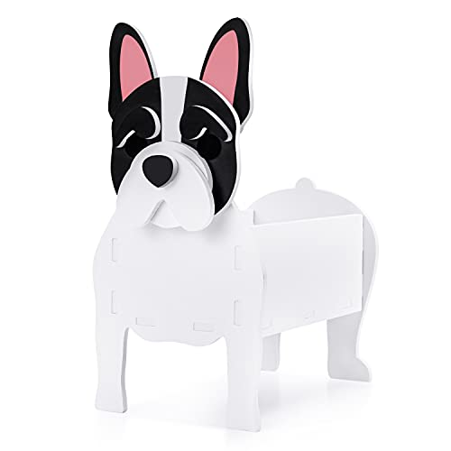 Fitcho Cute Dog Planter Plant Pot,Flower Pot for Garden Decoration,Bulldog Shape Plant Container Holder for Outdoor Indoor Plants Storage Container for Plants and Stuff Small Bulldog