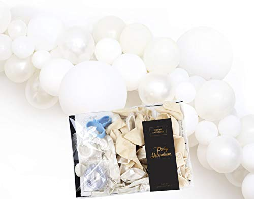 TOKYO SATURDAY Balloon Arch Kit -125 Pcs Mix Sizes Balloons with Tools - Create 16 feet Decoration Balloon Garland - for Wedding, Birthday, Baby Shower, Bachelorette Party Supplies (Dream White)