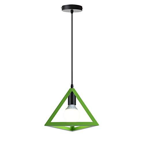 iDEGU hanglamp vintage hanglamp industrieel metaal plafondlamp geometrisch design E27 lamp hanglamp lampenkap driehoek 25 cm