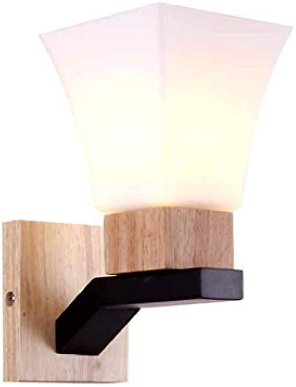 LL Wall Lamp Wood Art Kreatives, modernes Eisenglas für den Spiegelvorderror des Schlafzimmers, der mit Einer Beleuchtung ausgestattet ist,Wood,24x13cm