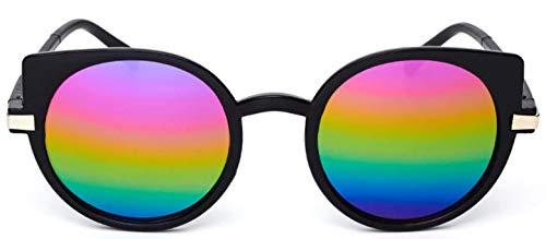Gafas de sol con ojos de gato para mujer - redondas - niña con ojos de gato - espejo - mariposa - niña - vintage - retro - años 60 - moda - montura negra - lente de espejo multicolor cat eyes