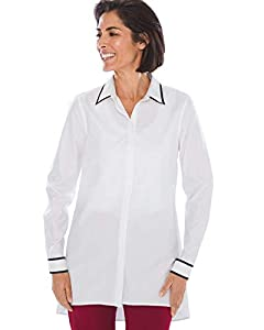 Chico's Women's No-Iron Cotton Contrast-Trim Tunic White
