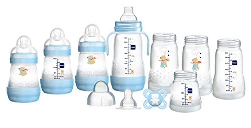 MAM Easy Start Babyflaschen-Set, selbststerilisierend, Anti-Kolik-Starter-Set, Small , Blau, (Designs können variieren)