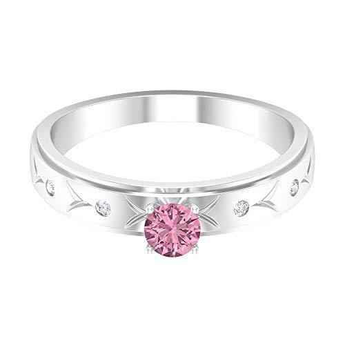 Anillo de turmalina rosa de 4 mm, anillo de diamante HI-SI, anillo grabado en oro, anillo de banda apilable, anillo solitario, 14K Oro blanco, Size:EU 47