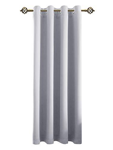 FLOWEROOM Verdunkelungsvorhang Blickdichte Gardinen - Lichtundurchlässige Vorhang mit Ösen für Schlafzimmer Geräuschreduzierung Grau weiß 245x140cm(HxB), 1 Stück