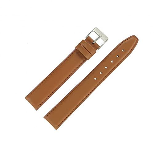 OnWatch - Correa de reloj de 18 mm, color marrón dorado, extra larga de piel, fabricación artesanal