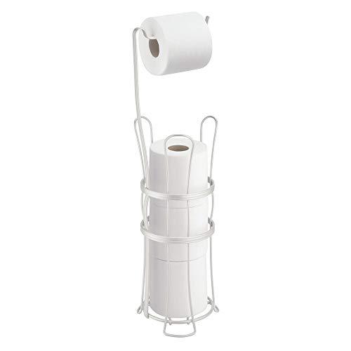 mDesign toiletpapierhouder zonder boren voor maximaal 4 rollen – vrijstaande klorollenstandaard voor de badkamer – 2-in-1 toiletpapierstandaard en reserverolhouder van metaal – mat wit