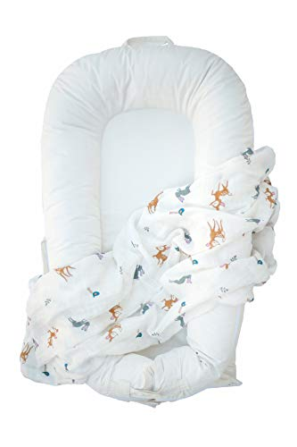 NoomiNest Baby Lounger Cover ONLY for DockATot Deluxe Bundle with Muslin Swaddle Blanket | 100% Oeko-TEX Certified Cotton