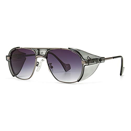SXRAI Gafas de Sol con Protectores Laterales Gafas de Sol de Verano de Gran tamaño a Prueba de Viento para Mujeres Metal Uv400,C5