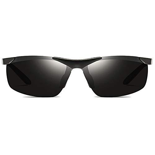 KK Zachary Gafas de sol para ciclismo al aire libre, deportes de aluminio, magnesio, UV400, color negro/plata/gris, lente gris para hombres y mujeres con la misma conducción (color: negro)