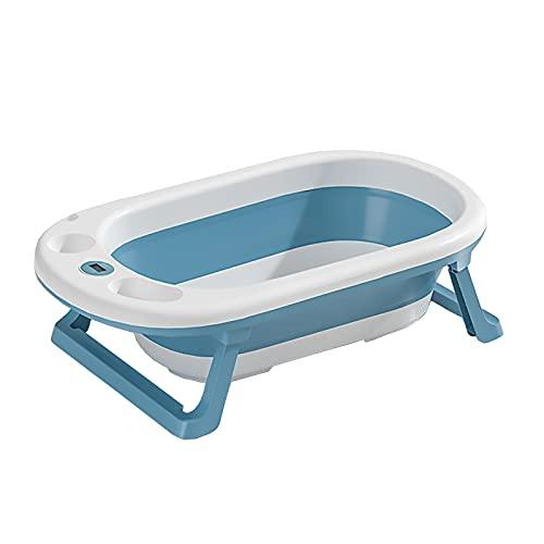 SLDAGe Bañera Plegable para Bebés, Bañera Portátil De Temperatura Inteligente para Bebés Material PP + TPE Resistente Y Duradero para Niños De 0 A 7 Años,Blue Green